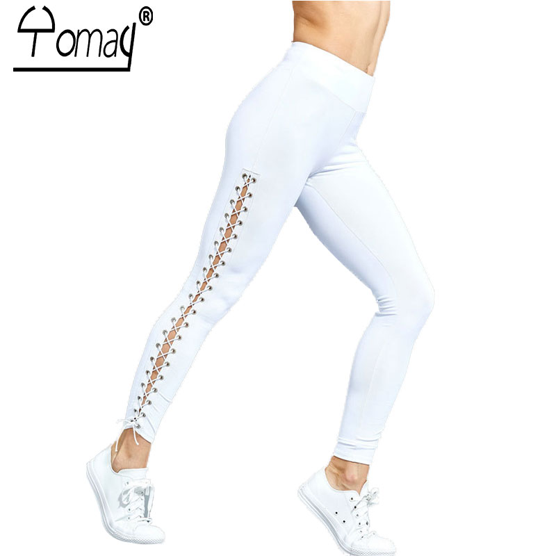 Yomay Women Yoga Pants Sport Leggings High Waist Fitness Cross Hollow Tight Bandage Cropped Pants Sports