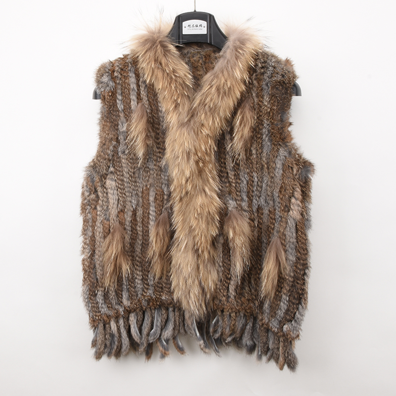 Women Genuine Knitted Rabbit Fur Vests with tassels Raccoon Fur Collar Trimming Waistcoat wholesale drop shipping