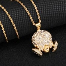 HIP Hop Full Micro Pave Rhinestone Skull Titanium Stainless Steel Iced Out Bling Skeleton Pendant & Necklace for Men Jewelry