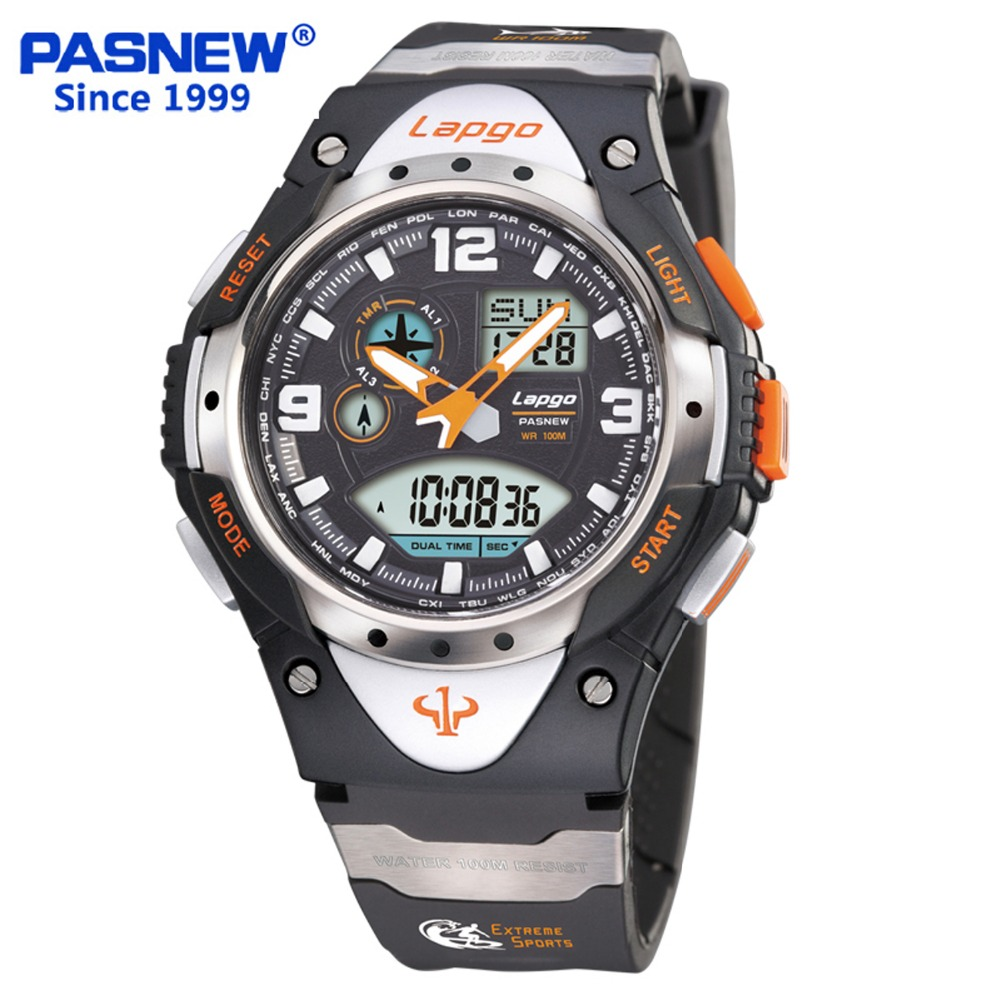 Pasnew New 100 Meters Waterproof Outdoor Sports Men's Running Countdown Luminous Alarm Function Electronic Watch PLG 1018AD