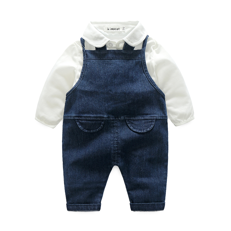 Newborn Baby Boy Girl Clothes Sets Children Clothing Gentleman Baby Boy Long Shirt+Suspender Suits Autumn Infant Costume Outfits