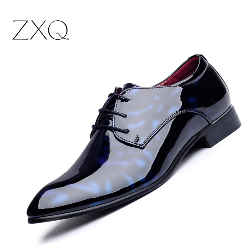Patent Leather Men's Business Pointed Toe Shoes Men Oxfords Lace-Up Men Wedding Shoes Dress Shoe Plus Size 47 48 qianruiti men alligator gold loafers metal toe business wedding oxfords high quality lace up slippers men dress shoe eu39 eu46