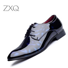 Patent Leather Men s Business Pointed Toe Shoes Men Oxfords Lace Up Men Wedding Shoes Dress