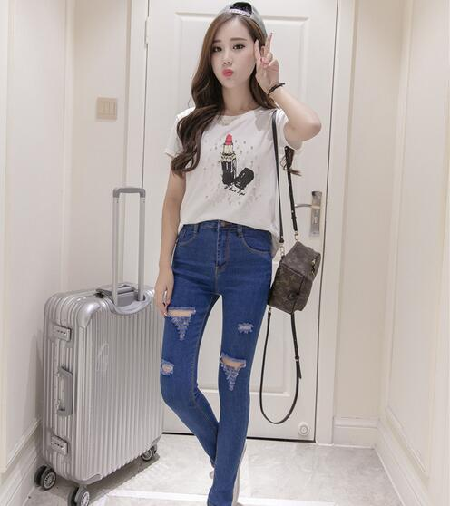 Knee hole jeans female ankle length trousers elastic tight pencil skinny pants trousers