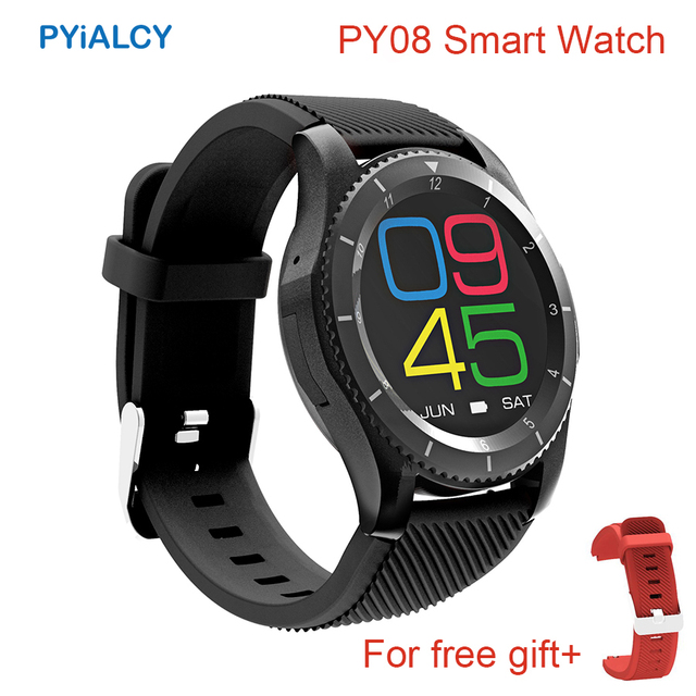 2017 PYiALCY PY08 Smartwatch Bluetooth 4.0 SIM Card Call Message Reminder Heart Rate Monitor Smart Watch For Android PK GW10 G8