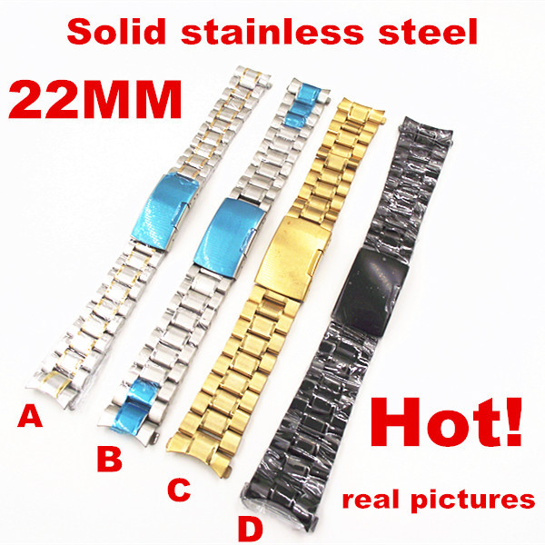 High quality 10PCS lot wholesale 22MM Solid Stainless Steel Watch band curved end Watch strap 4