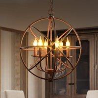 LOFT vintage circular globe ball industrial wrought iron bird cage pendant light hanging lighting for Restaurant bar Dining room