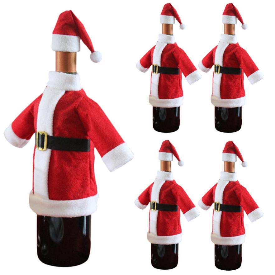 5pcs Wine Bottle Cover Bags Decoration Home Party Clothes <font><b>Hat</b></font> Christmas Jul7 Professional Factory price Drop Shipping
