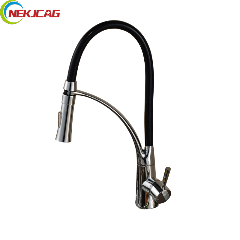 Single Handle Kitchen Faucet Black Chrome Finish Faucet Mixer Taps Hot and Cold Water Bathroom Faucet Torneira Cozinha micoe brass faucet single handle single hole kitchen faucet double nozzle water mixer chrome hot and cold water rotating faucet