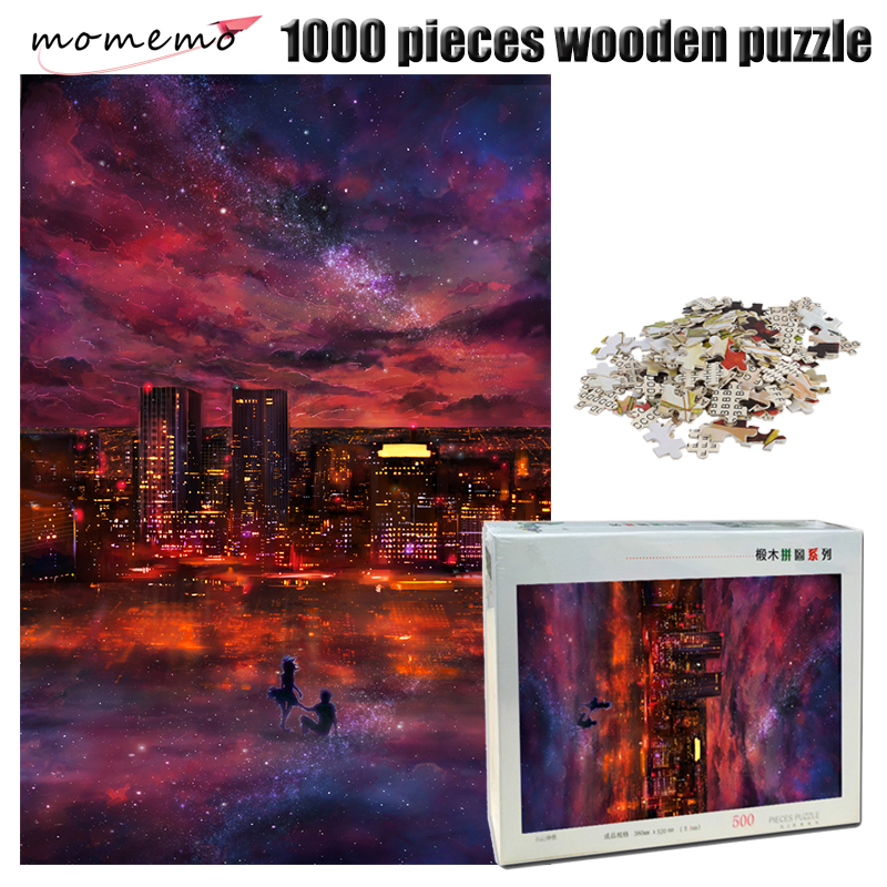 MOMEMO Romantic Starry Sky Jigsaw Puzzle 1000 Pieces Wooden Puzzle for Adult Exquisite Nightscape Puzzles Toys for Children Gift