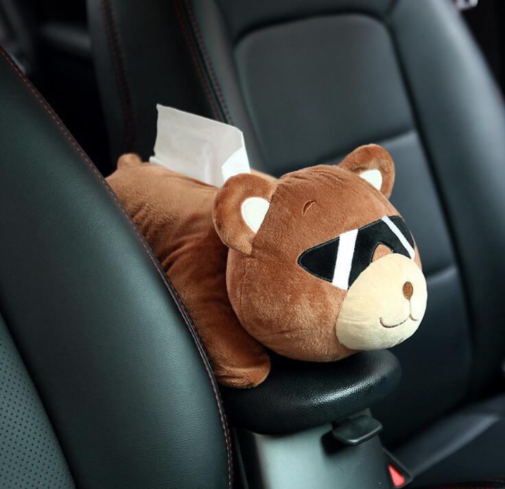 New Cartoon Car Tissue Bag Holder Plush Automotive Backseat Hanging Paper Tower Storage Box Brown Bear Dog Rabbit Seat Back Bags Tissue Boxes     - title=
