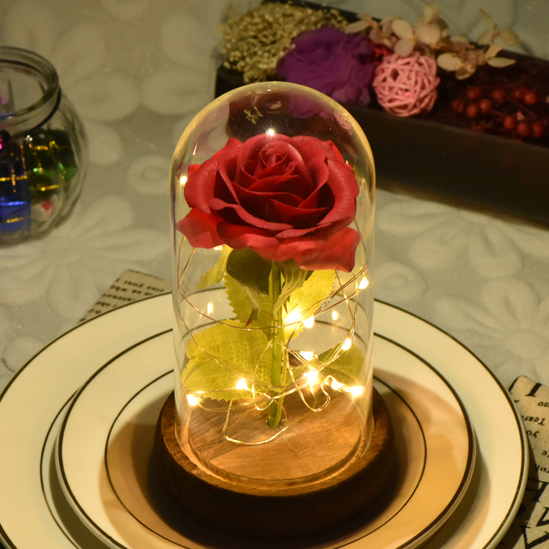 2019 Dropshipping Beauty and the Beast Red Rose in a Glass Dome with LED Light Wooden Base for Valentine's Mother's Day Gifts(China)