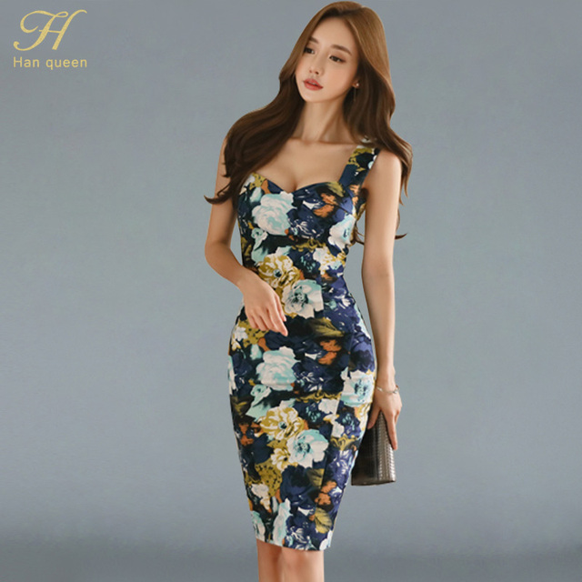 b63b2e50d846 H Han Queen Korean 2018 new Summer Retro Print Vestidos Sexy Dress Women  Office Work Tunic Bodycon Sheath Casual Pencil Dresses