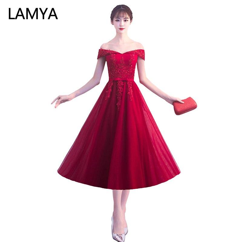LAMYA Customized Tea Length Prom Dresses Elegant Lace Boat Neck Banquet Formal Party Gowns vestido de festa longo