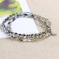 Bijoux Faceted Green Agate Mix Silver Beaded Necklaces Women Handmade Choker Bib Collar Friendship Retro Wraps Bracelet Jewelry