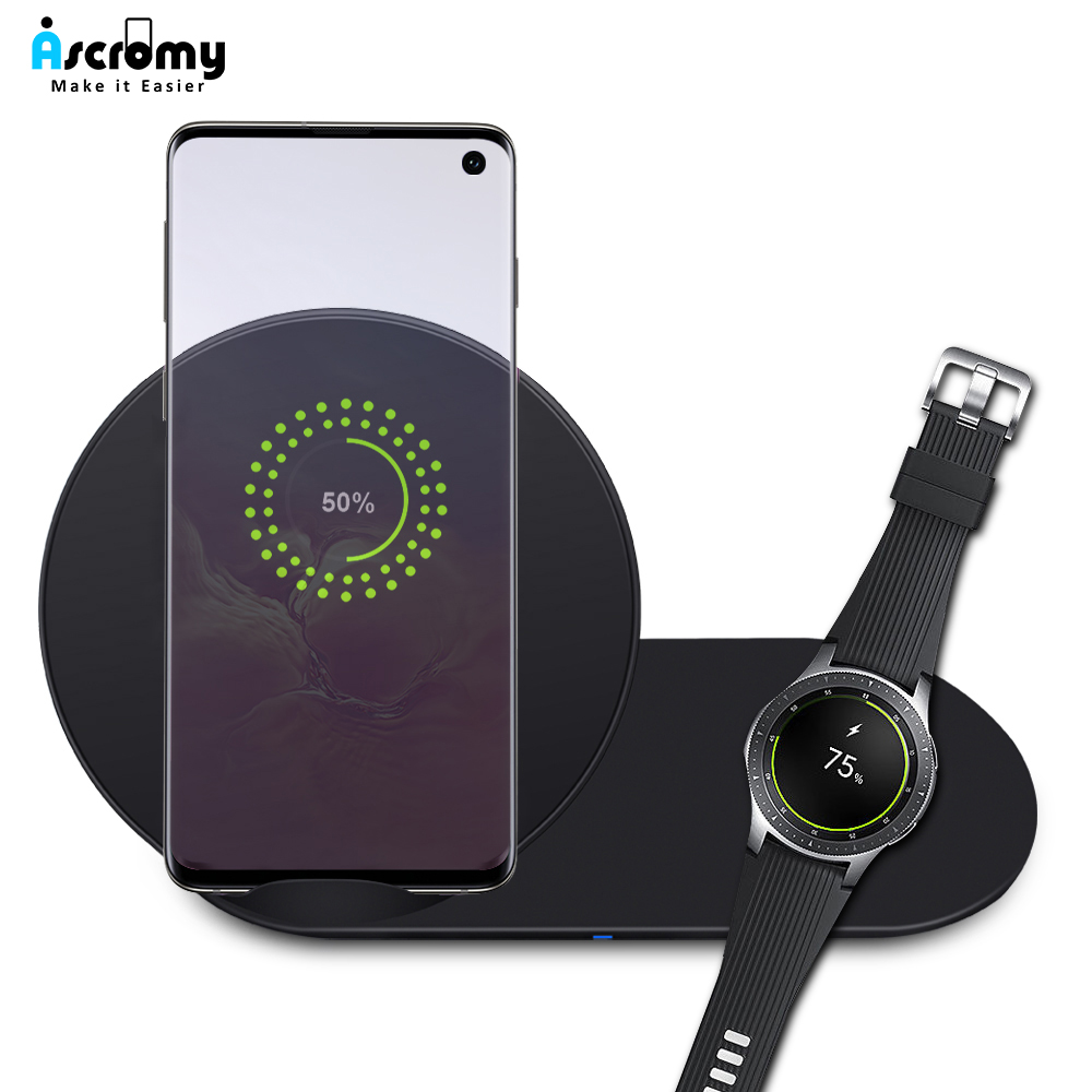 Ascromy Qi-Charger Watch Gear Charging-Pad S10E Samsung Galaxy Plus Wireless Carregador