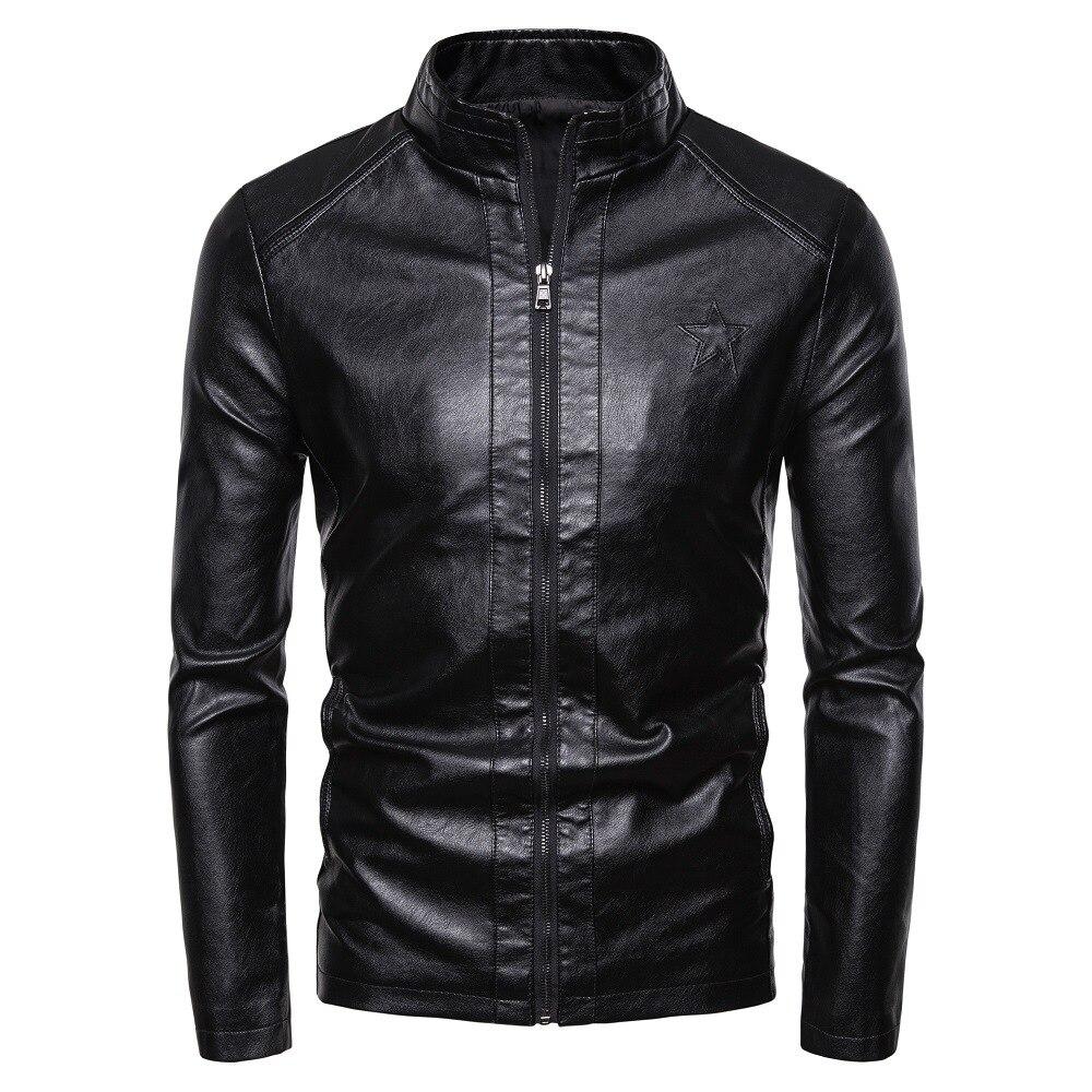 HOHO2019 New Locomotive Fashion Slim Leather Jacket Men's British Fashion Collar Leather Jacket