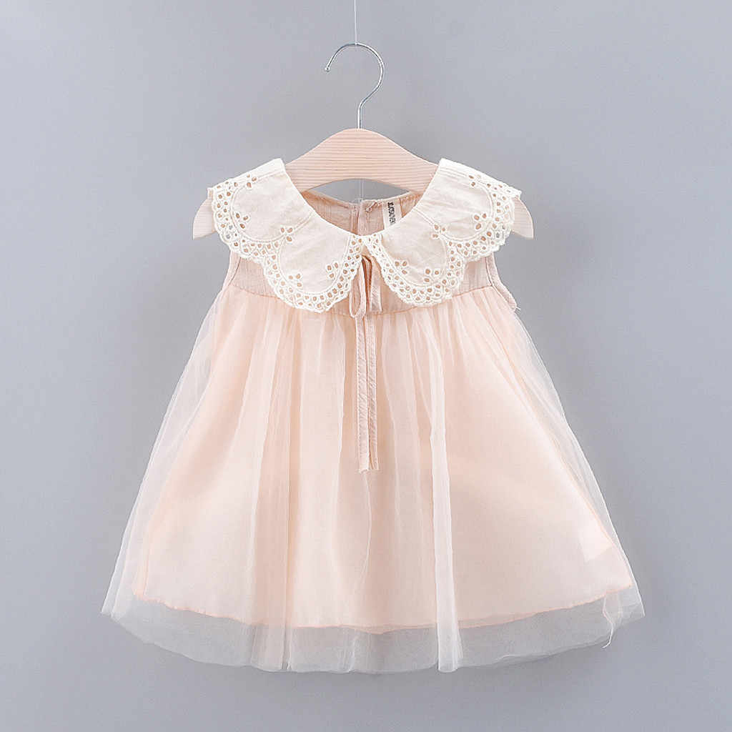 Cute baby girl dress Solid Bow Lace Tulle Party Princess Dress Clothing Pink White Dress for Toddler Kid robe bebe