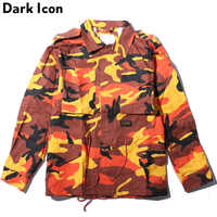 DARK ICON Turn down Collar Drawstring Waist Camouflage Jacket Men 2019 Autumn Multy Camo Men's Jackets 7 Colors