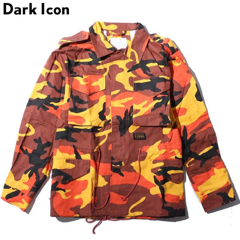 Foncé ICON Turn-down col cordon taille Camouflage veste hommes 2019 automne Multy Camo hommes vestes 7 couleurs