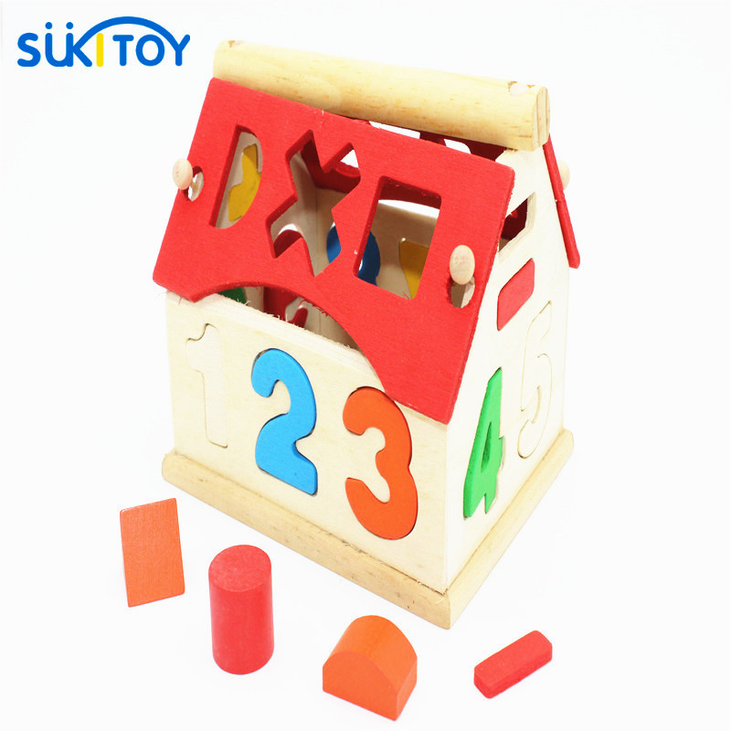 Kid's Soft Montessori Wooden Mini Number house number shape matching Blocks Toy Set early educational gift for kids & baby wooden educational tool number building blocks number sticks kids math learning educational toy ao p