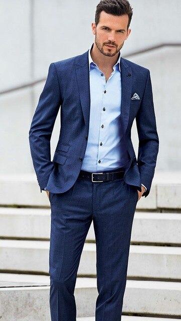 16765cec56a13 2017 Hermoso Azul Marino Smokinges Del Novio Por Encargo Estilo Italiano  Trajes de Boda Para Hombre 2 Unidades Traje Casual Hombre (Chaqueta +  Pants) terno ...
