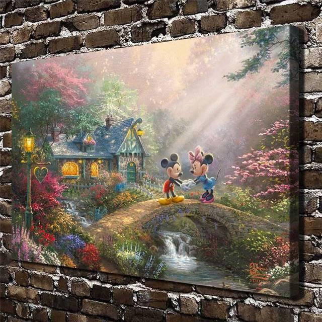 Us 10 99 Aliexpress Com Buy H1400 Thomas Kinkade Mickey Mouse Cartoon Anima Hd Canvas Print Home Decoration Living Room Bedroom Wall Pictures Art