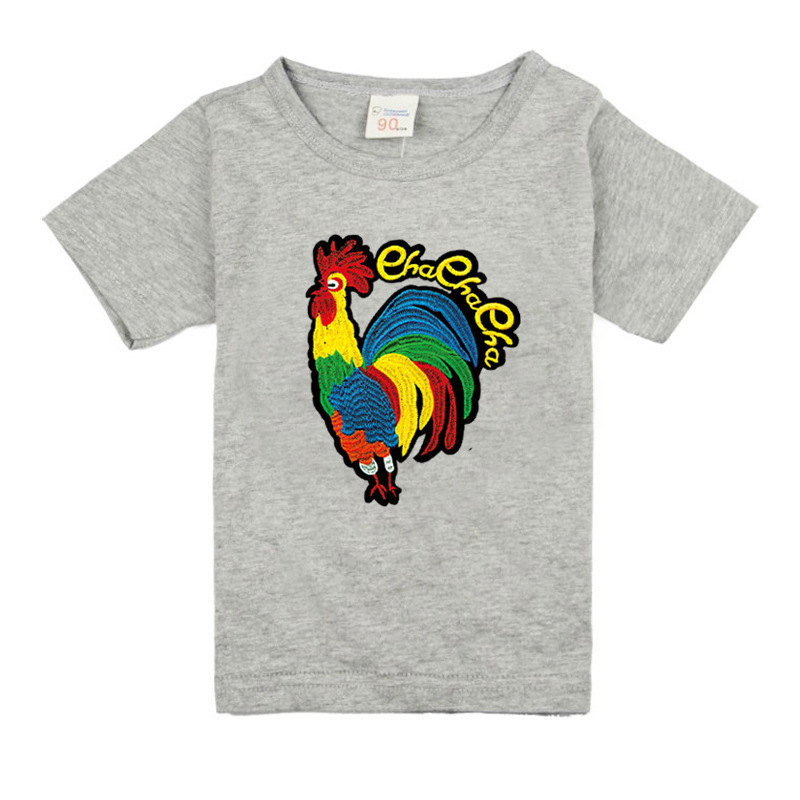 T-Shirts Clothing Tops Short-Sleeve Baby-Girls Boys Kids Cotton Children for Cock-Pattern