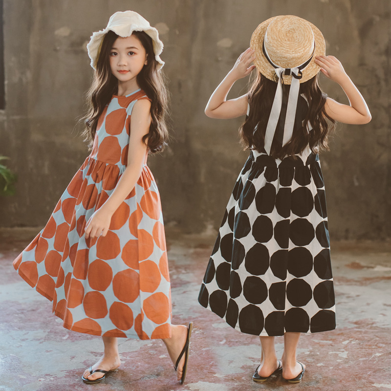 Image 2 - Летнее платье для девочек 2020 г., новое пляжное хлопковое детское длинное платье в горошек платье для мамы и дочки летнее платье для детей ясельного возраста одежда для подростков #5077Платья   -