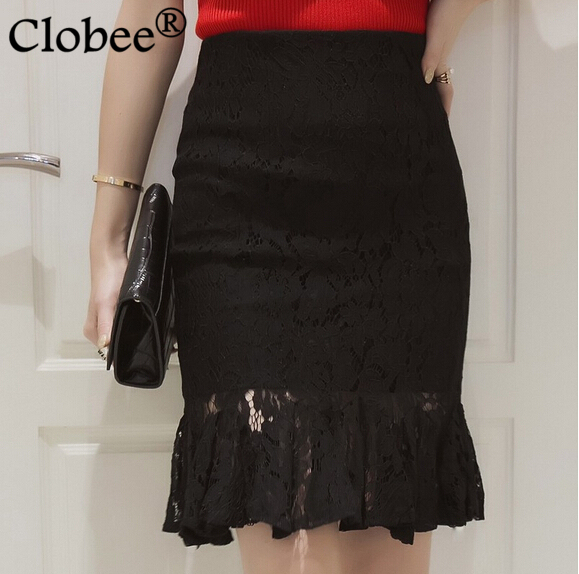 f898141f00b Clobee 2018 New Women Lace Skirts Patchwork White Black SKirt for women  Knee Length Plus SIze