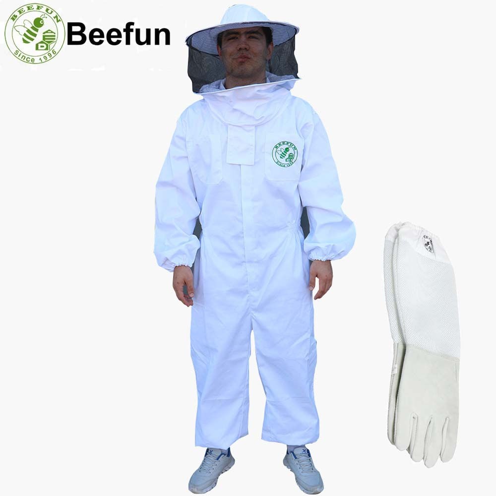 Beekeeping Suits Beefun Full Body Bee Suit White Protective Clothing With Round Veil Hat 1 Protective