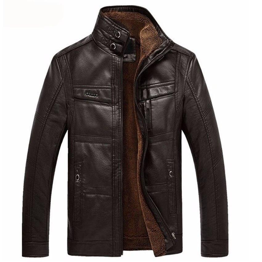 Homme rembourré veste en cuir veste hommes manteaux 5XL marque haute qualité PU vêtements d'extérieur hommes d'affaires hiver fausse fourrure mâle veste polaire