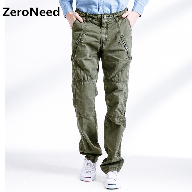 Mens Cargo Pants Side Zipper Pocket Casual Work Pant Outdoors Joggers Men Fashion Thermal Pants Military Camouflage Trousers 305