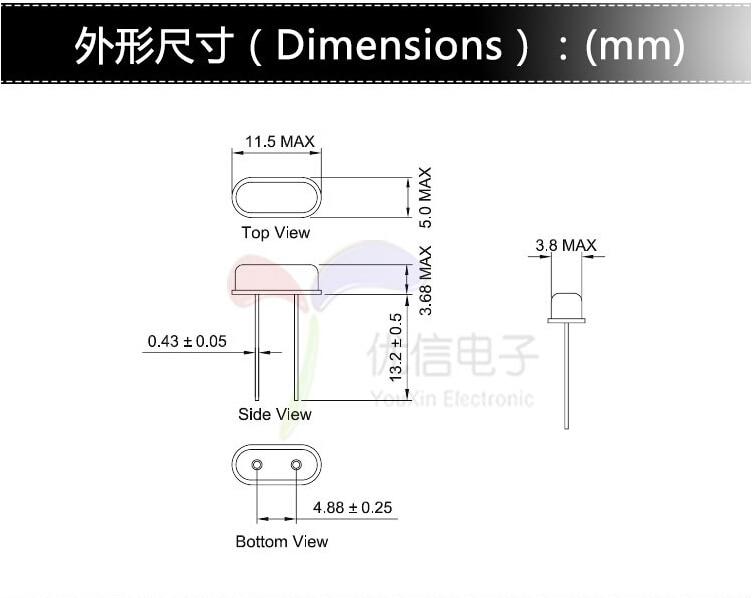 sourcing map DIP Quartz Cristal Oscillateurs R/ésonateurs 26 MHz