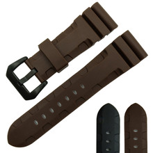 Silicone Rubber watchband 24mm 26mm sport watch strap black brown color wristband bracelet waterproof accessories belt for PAM цена 2017