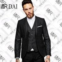 MD-010 אדרה שחורה רטרו צמר טוויד בסגנון בריטי של גברים חליפת חתונה חליפות גברים Slim Fit חליפה תפורים (מעיל + מכנסיים + Ves)