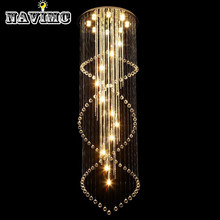 Современный Большой Размер Хрустальная Люстра Спираль Длинные Лестницы Освещение Светильники для Фойе Отеля Виллы