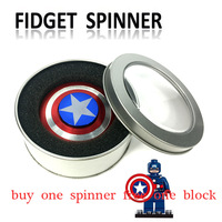 Fidget Spinner Metal Finger Spinner Captain America Shield Marvel Toy Tri Hand Top Spinners Beyblade Bearing