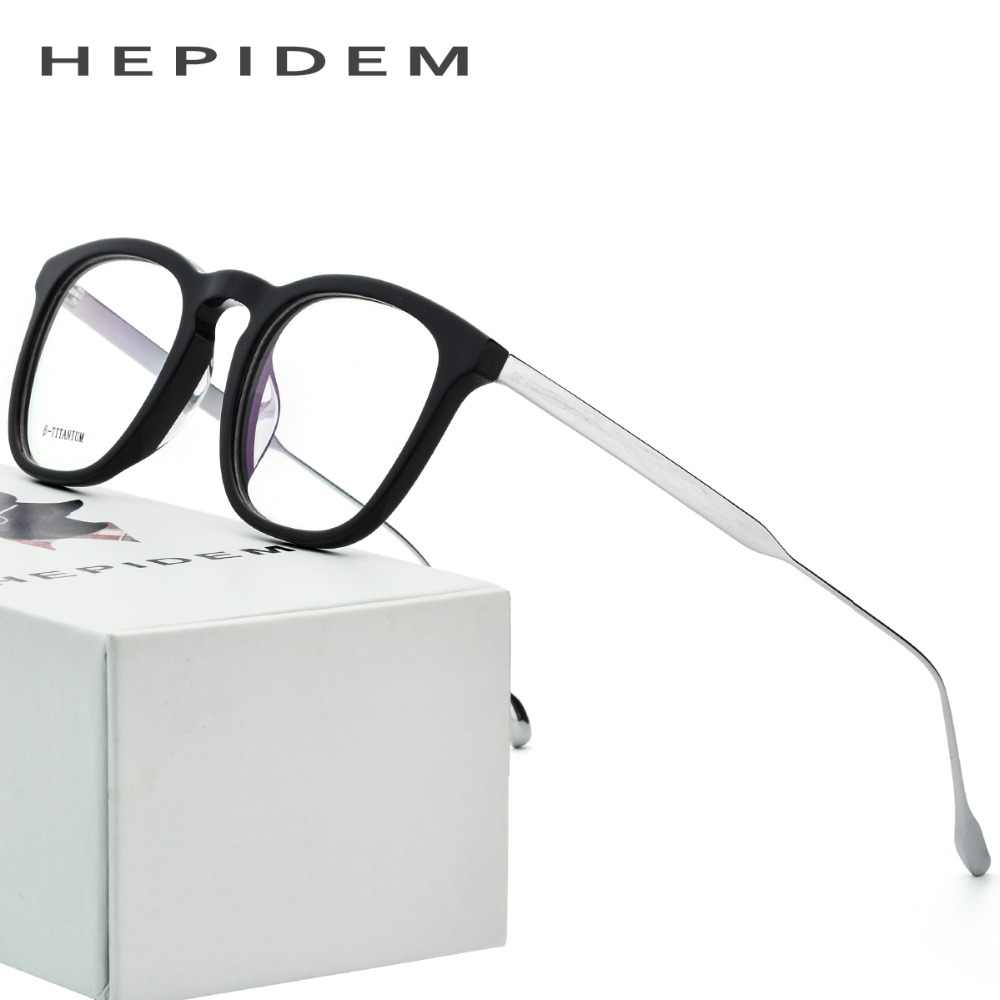 ab548ebedb B Titanium Optical Glasses Frame Men Acetate 2018 Nerd Round Brand Designer Prescription  Eyeglasses Women Metal