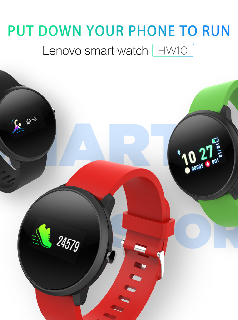 New Lenovo Smart Watch HW10 Sports Watch Bracelet IP68 Waterproof 0 96 Inch  LCD Color Screen Heart Rate Detector Fitness Tracker Smart Watches Ios