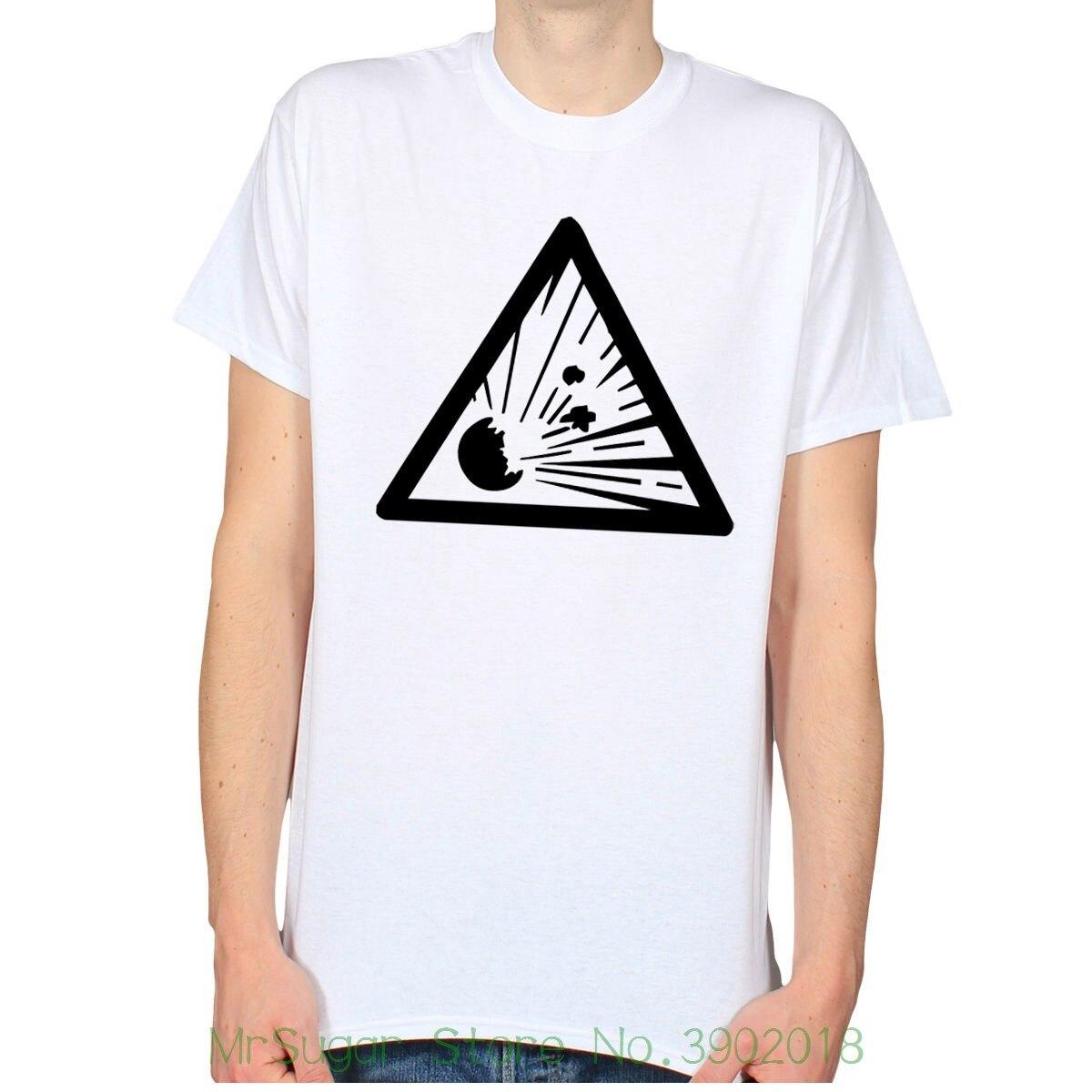 Взрывной взрыв Предупреждение знак опасности Hipster Панк мужские футболка для мужчин/мальчик футболка
