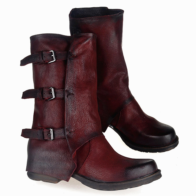 Genuine Leather Women's Round Toe Low Heel Buckles Handmade Casual Mid Calf Boots