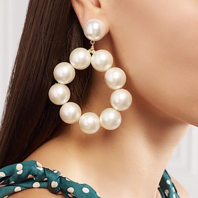 Best lady Fashion Round Pendant Beads Drop Earrings Jewelry Earrings for Women W