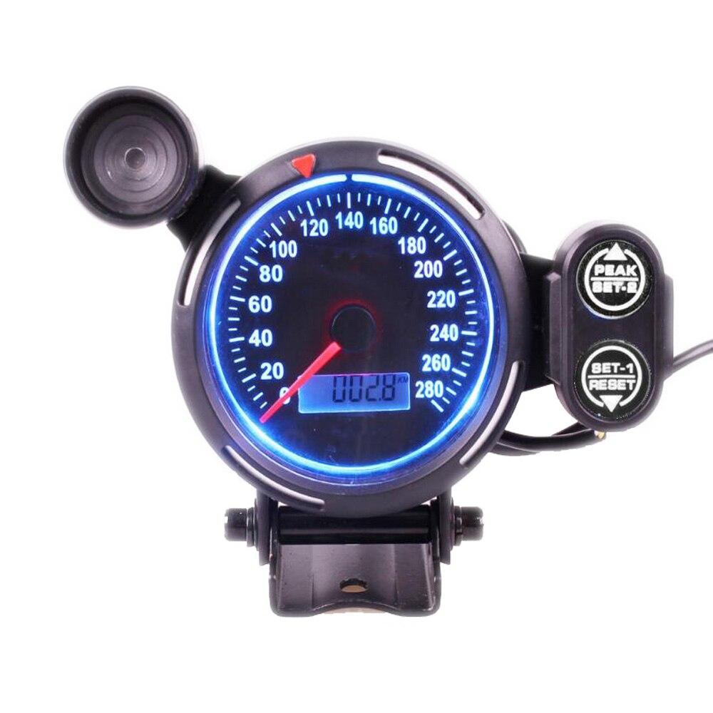 80 ミリメートルデジタル車スピードメーターゲージ 0 〜 280 MPH スピードメーターシフトのためのユニバーサル車のトラック  グループ上の 自動車 &バイク からの タコメーター の中 3