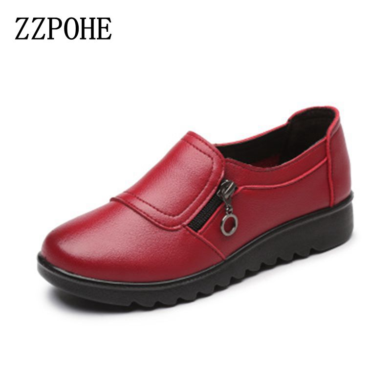 ZZPOHE New Autumn Women's Shoes Fashion Casual Women Leather Shoes Ladies Slip On Comfortable Plus Size Work shoes free shipping free shipping 2017 full grain leather women fashion mixed colors casual pumps slip on ladies office