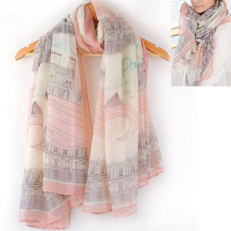 Hot Sale Eiffel Tower Print Europe Style Charming Elegant Long Cotton Neck Scarf Pink Thin Wrap Stole Shawl Casaul Harajuku 2019