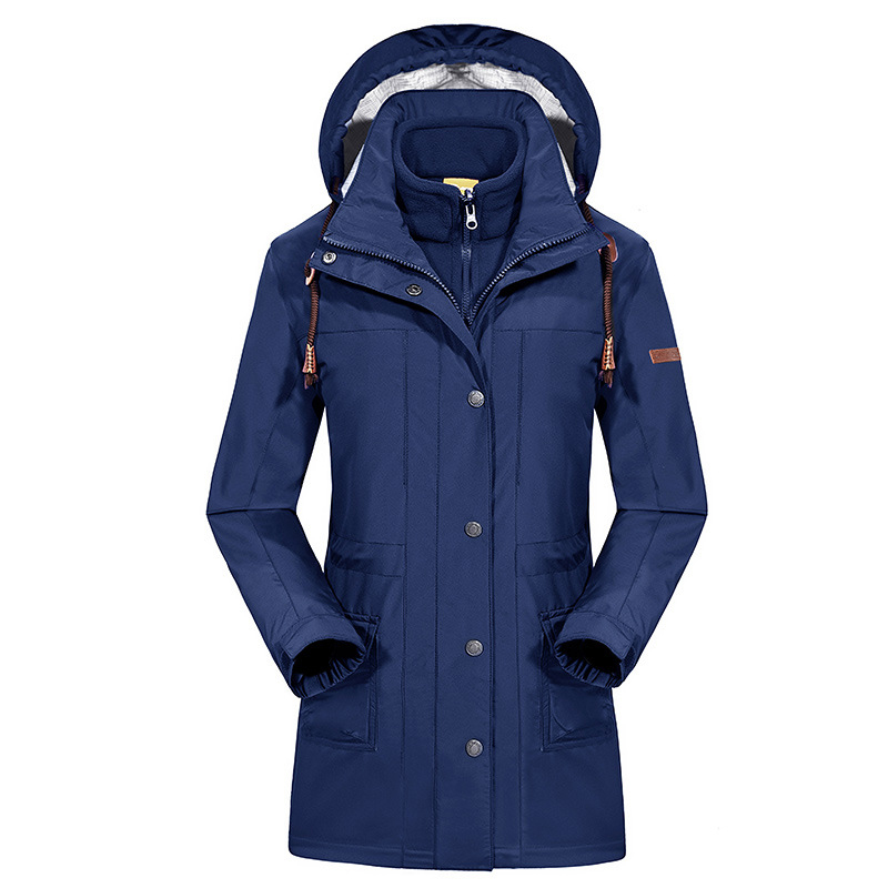 New 3in1 Winter Warm Camping Long Coat Waterproof Ski Snowboard Fishing Hiking Outdoor Jacket Women Windproof Jaqueta Feminina 2018 new style casual warm long sleeve ladies basic coat jaqueta feminina fashion jacket women parkas cotton lady winter jacket