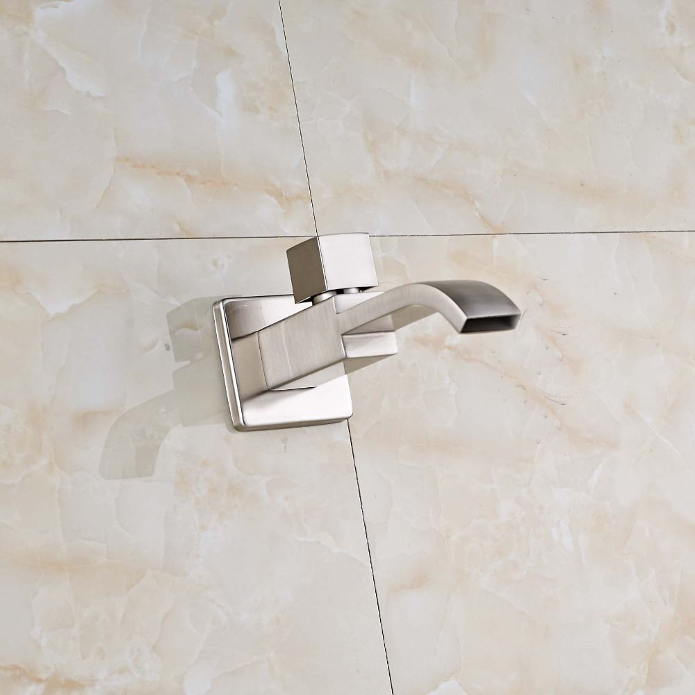 Waterfall Bathroom Tub Faucet Spout Pool Faucet Solid Brass Nickel Brushed