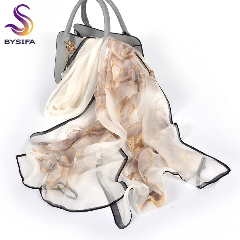 [BYSIFA] Female Spring White Chiffon Silk Scarves New Floral Design Long 100% Silk Scarf Shawl Autumn Winter Women Neck Scarf