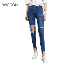 Slim blue Knee-hole ripped jeans skinny pencil pants women denim vintage Irregular High waist casual pants female WICCON